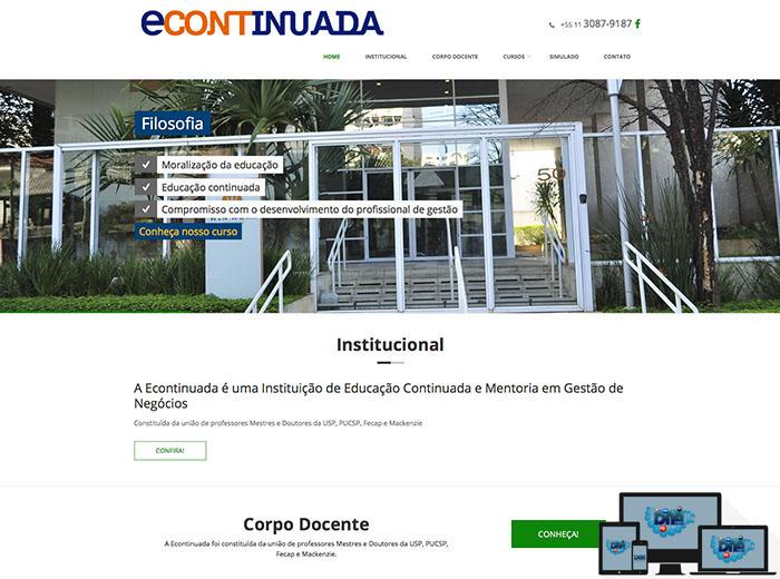 Layout desenvolvido para o webSite Econtinuada