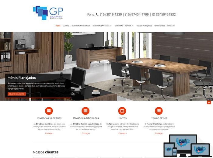 Layout desenvolvido para o webSite GUIPLAC Divisórias