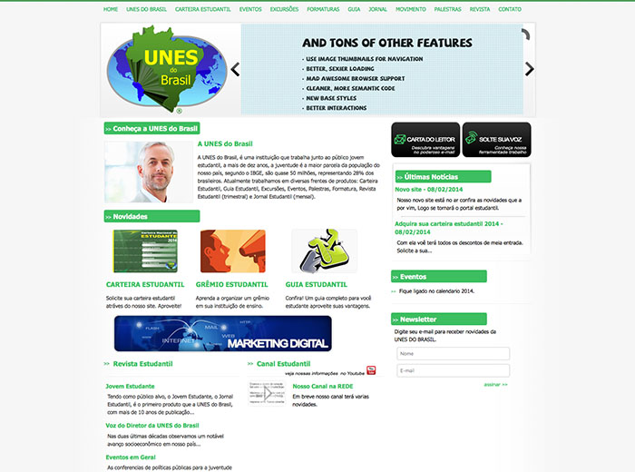 Layout desenvolvido para o webSite UNES do Brasil